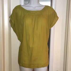 Anthropologie cotton top szXS green mustard sedme&